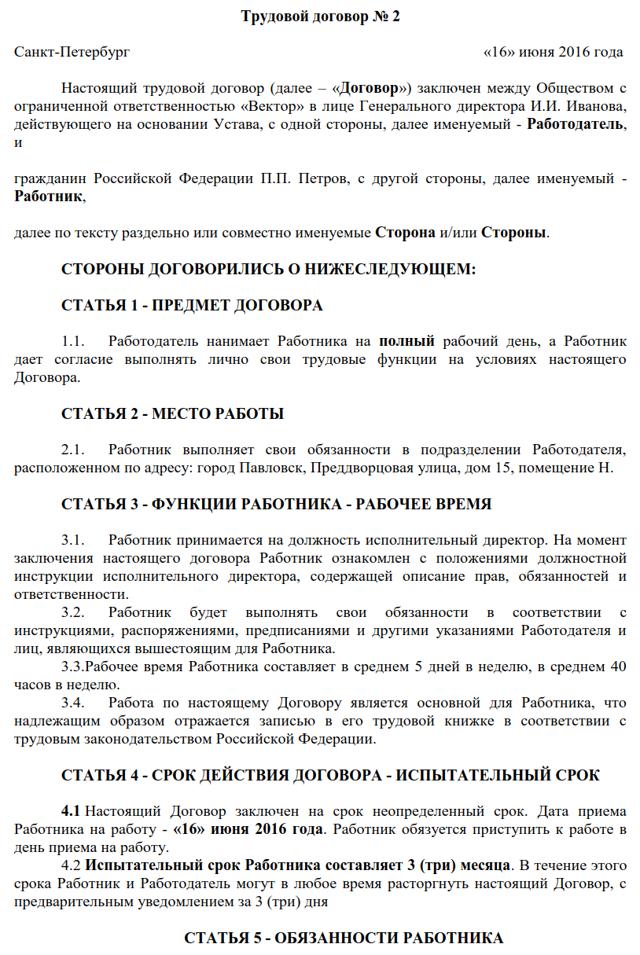 Образец трудового договора с генеральным директором, его содержание и особенности