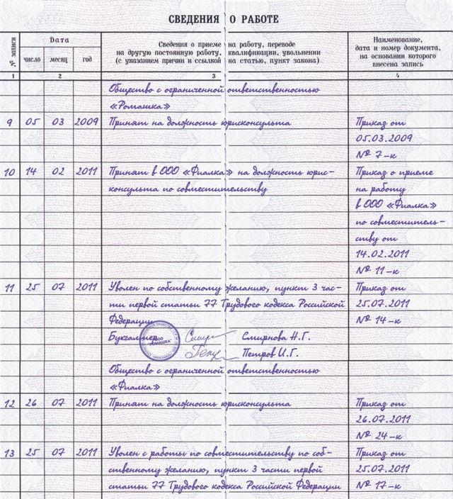 Увольнение по собственному желанию: как оформляется и образец записи в трудовой книжке