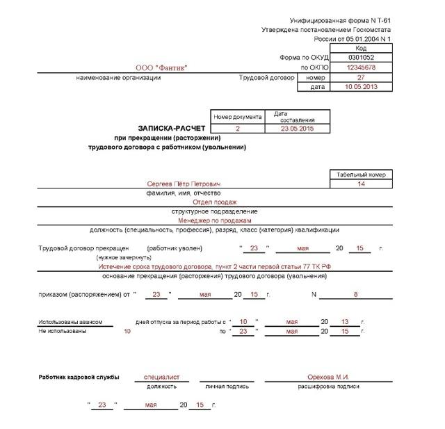 Увольнение по истечении срока трудового договора, его основания и оформление