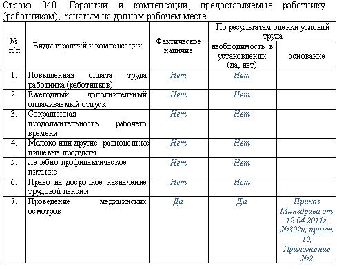Пример заполнения карты специальной оценки условий труда и правила ее оформления