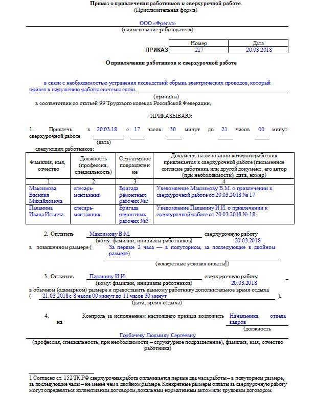 Образец приказа на сверхурочную работу: оформление, требования законодательства