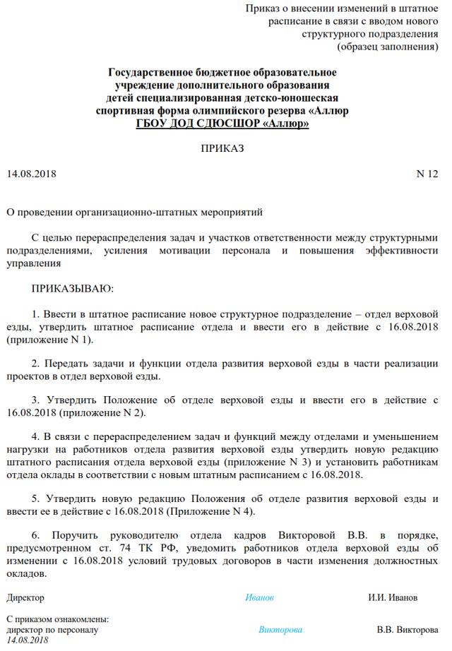 Изменение условий трудового договора по инициативе работодателя и его документальное оформление